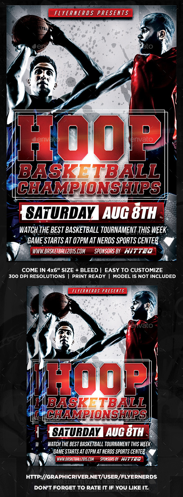 Hoop Basketball Championships Sports Flyer - Sports Events