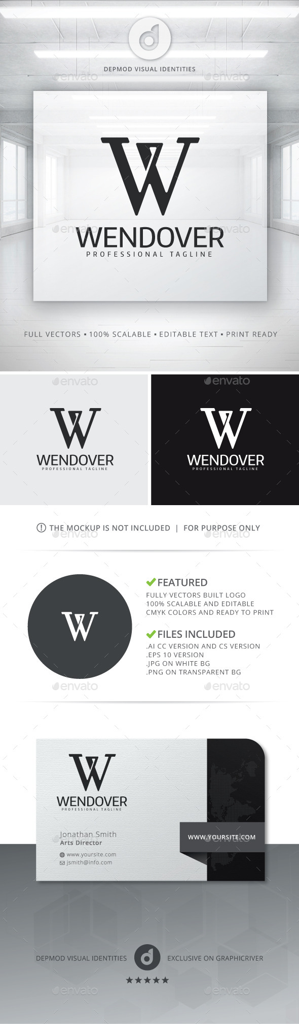 Wendover Logo - Letters Logo Templates