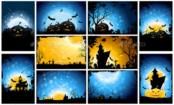 Halloween Party Backgrounds Set - Halloween Seasons/Holidays