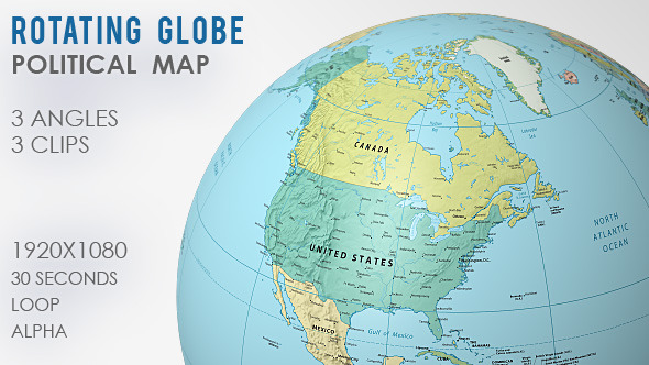 Rotating globe world map 3 views by vf videohive play preview video gumiabroncs Gallery