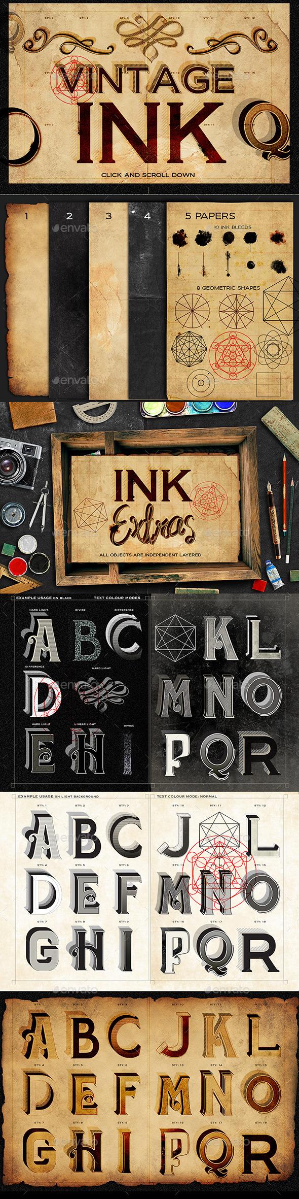 Vintage Ink Styles - Text 3D Renders