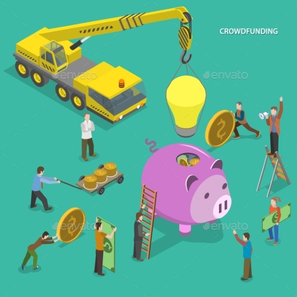 Crowdfunding Flat Isometric Concept - Concepts Business