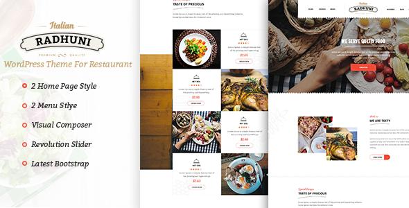 Italian radhuni food resturant wordpress theme by