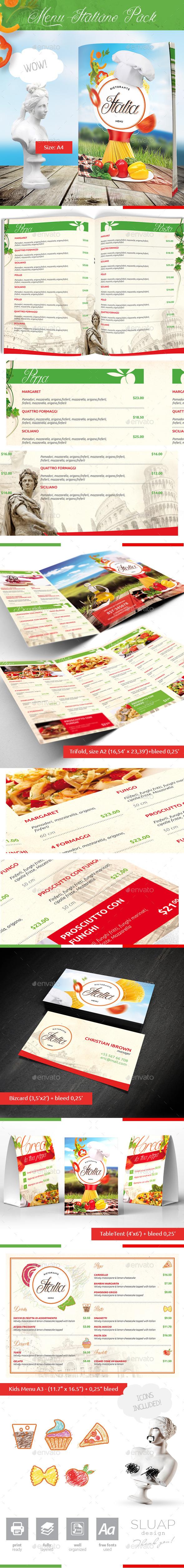 Menu Italiano Pack - Food Menus Print Templates