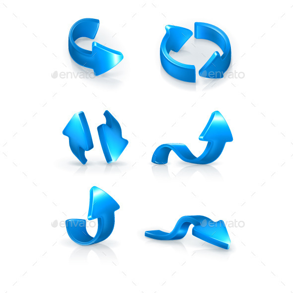 Blue Arrows Icons - Decorative Symbols Decorative