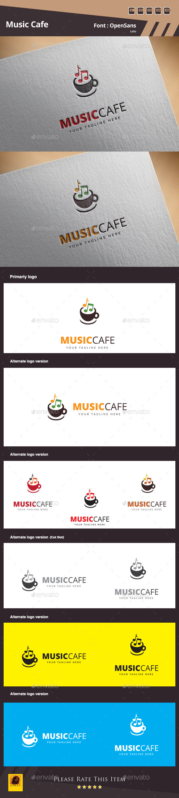 Music Cafe Logo Template - Food Logo Templates