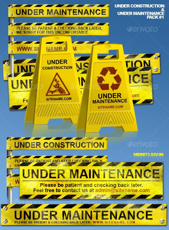 Under Construction & Under Maintenance Pack #1 - Miscellaneous Web Elements