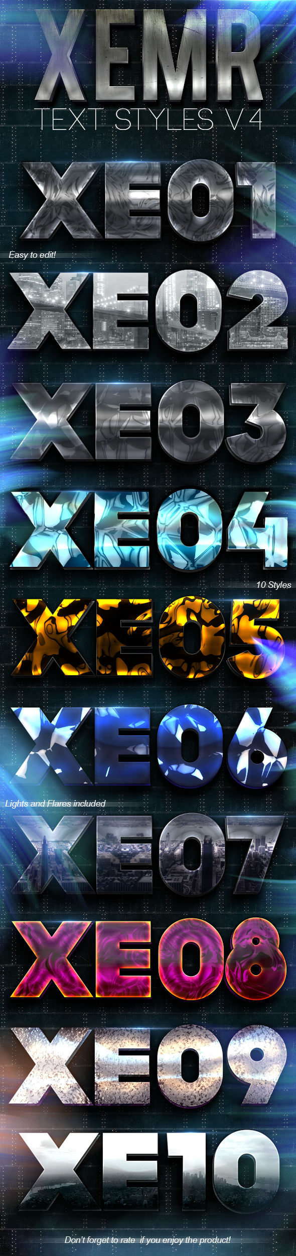 Xemr Photoshop Text Styles V4 - Text Effects Styles