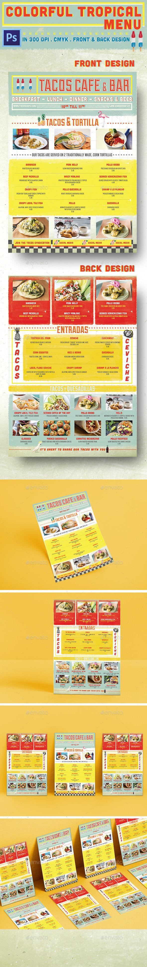 Colorful Tropical Menu - Food Menus Print Templates