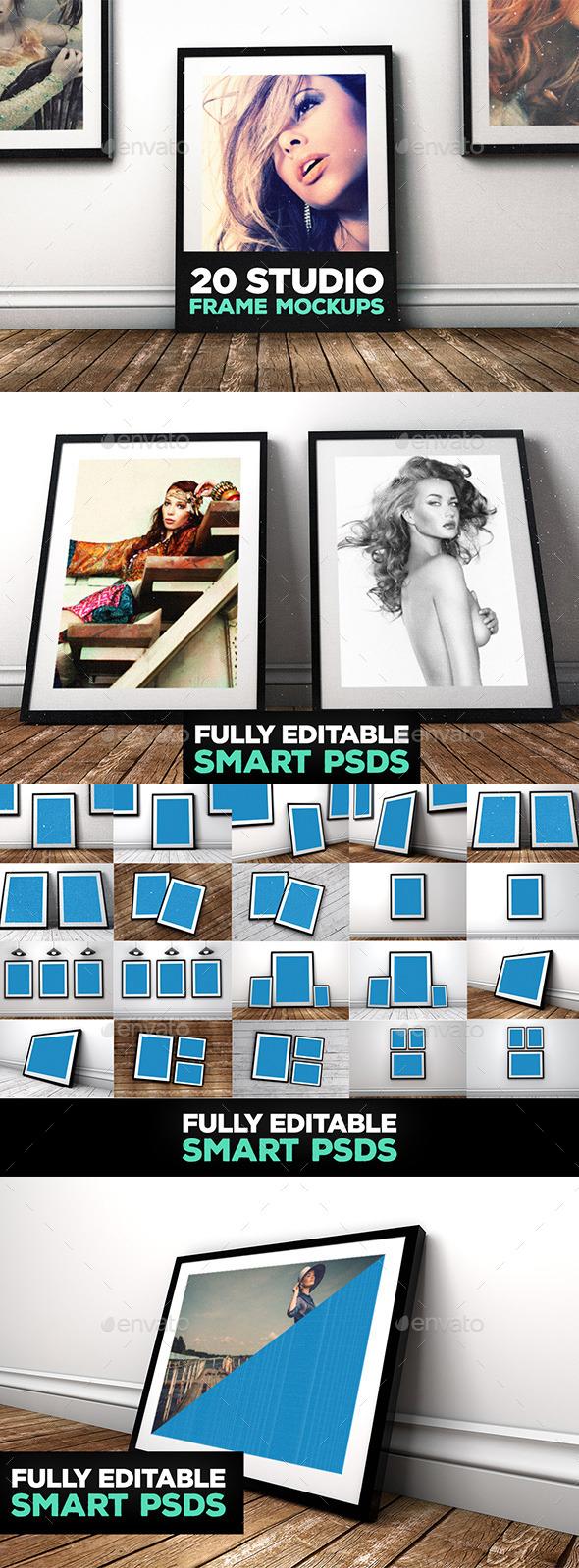 20 Studio Frame Mockups - Posters Print