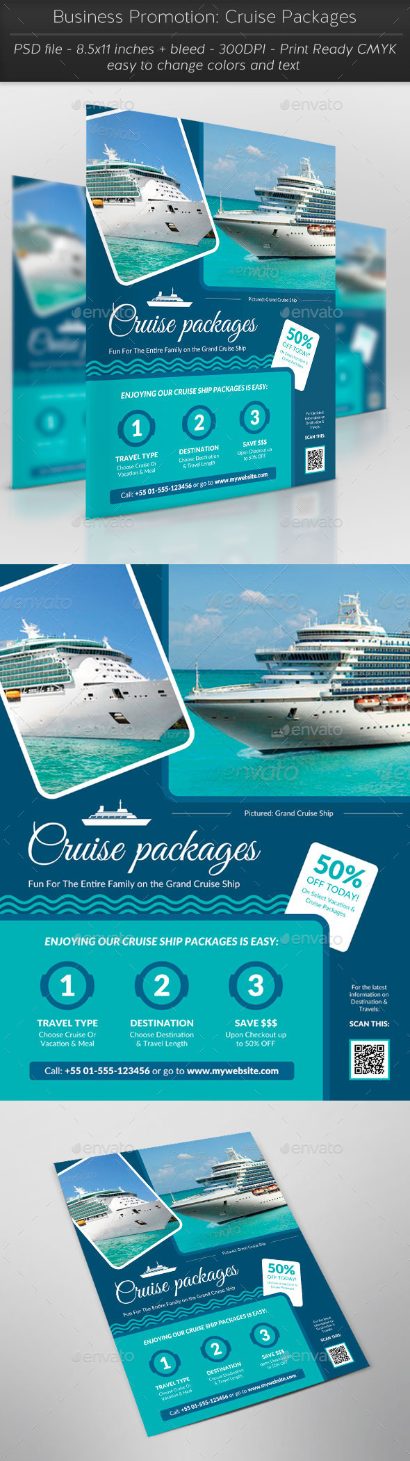 Business Promotion: Cruise Packages - Flyers Print Templates
