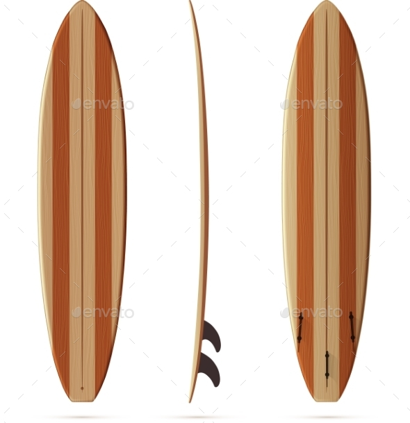 Wooden Retro Vector Malibu Surfing Board - Sports/Activity Conceptual