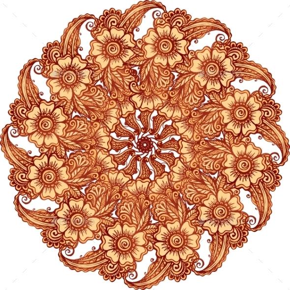 Mehndi Henna Tattoo Style Vector Mandala - Borders Decorative