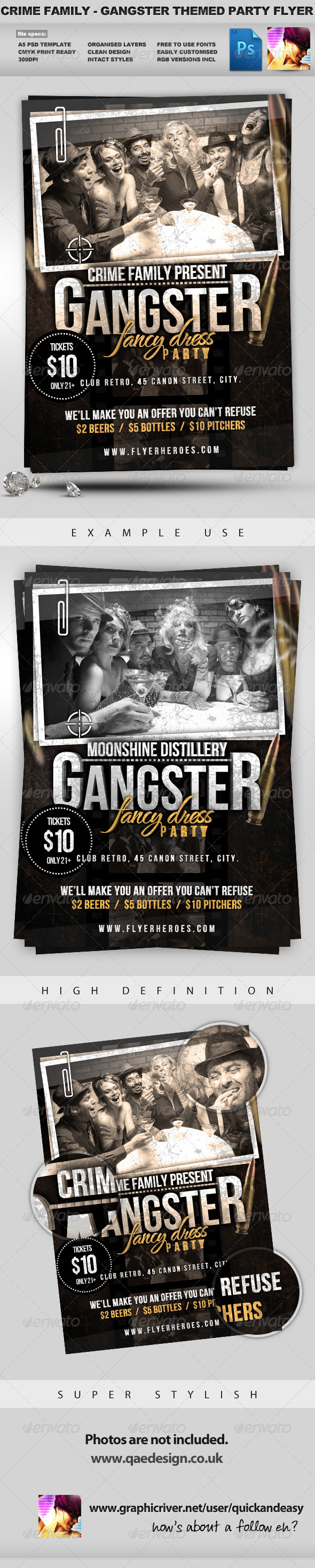 Crime Family - Gangster Themed Flyer Template - Clubs & Parties Events