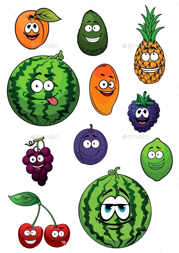 Fresh Happy Cartoon Fruits Characters  - Food Objects