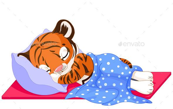 Tiger Sleeping - Animals Characters