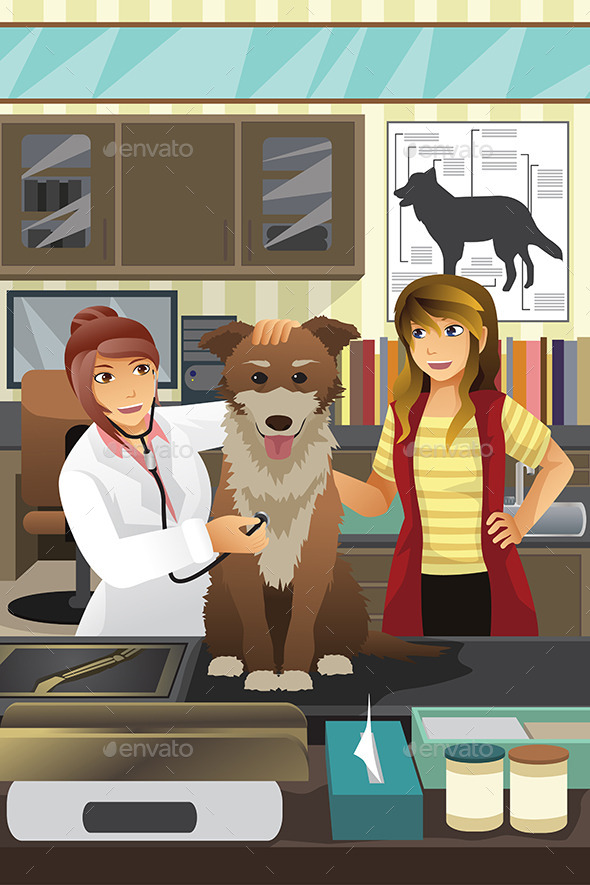 Veterinarian Examining a Dog - People Characters
