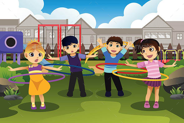 Children Playing Hula Hoop in the Park - People Characters