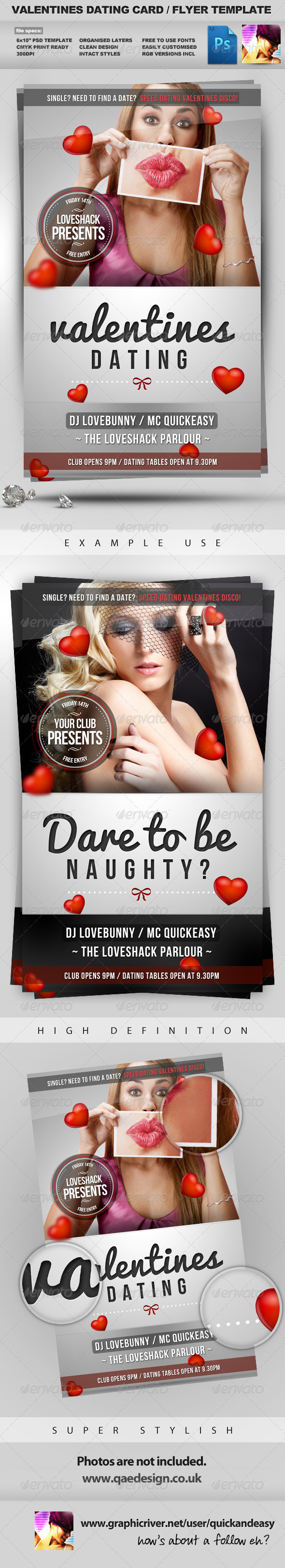 Valentines Dating Card Flyer Template - Clubs & Parties Events