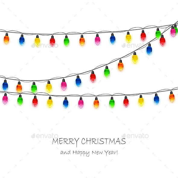 Christmas Light Bulbs on White Background - Christmas Seasons/Holidays