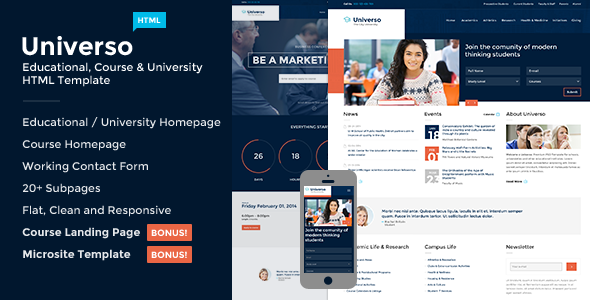 Universo - Courses, Events, Education & University - Corporate Site Templates