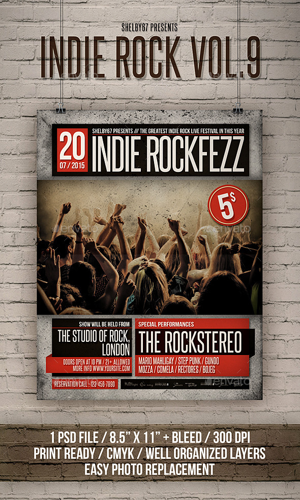 Indie Rock Flyer / Poster Vol 9 - Events Flyers