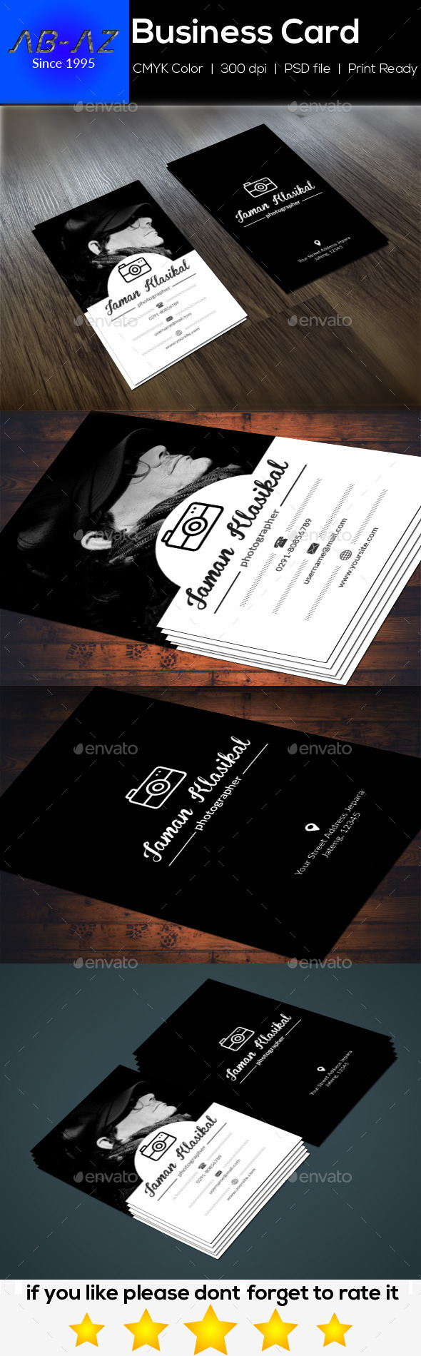 Clasic Photographer Business Card - Industry Specific Business Cards
