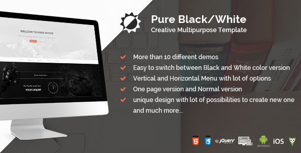 Pure Black/White - Creative Multipurpose Template - Creative Site Templates