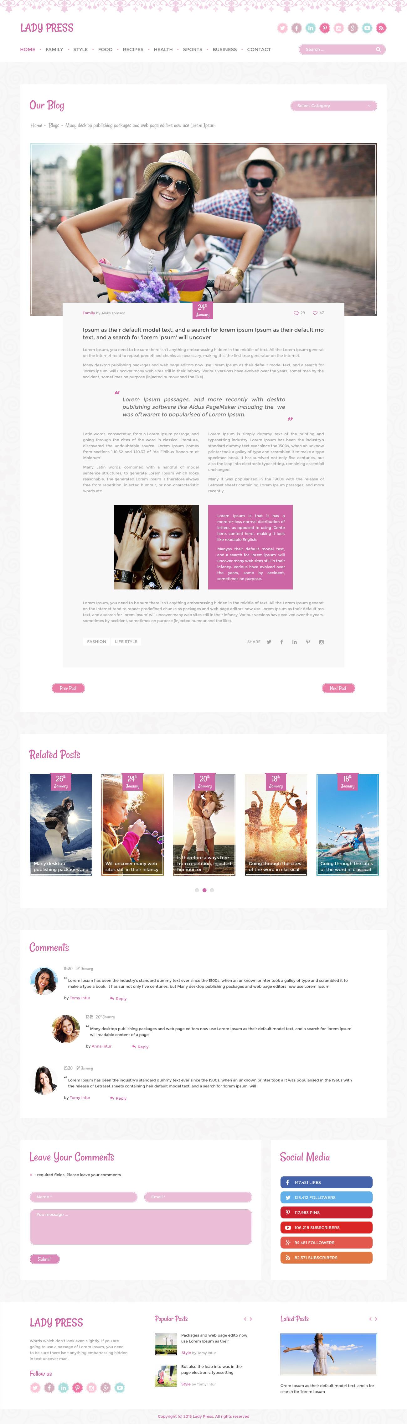 LadyPress - Woman Magazine Blog HTML Template by Templatation ...