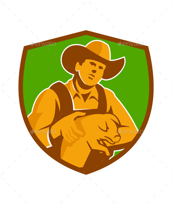 Pig Farmer Holding Piglet Shield - People Characters