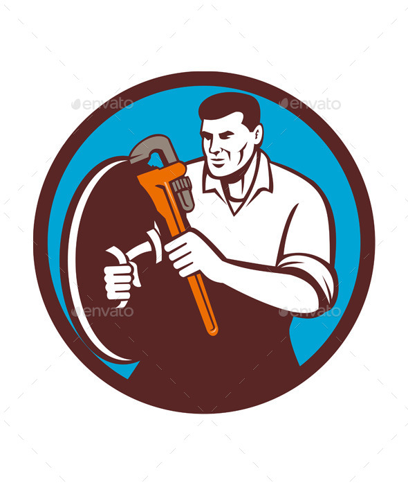 Plumber Brandishing Wrench Circle - People Characters