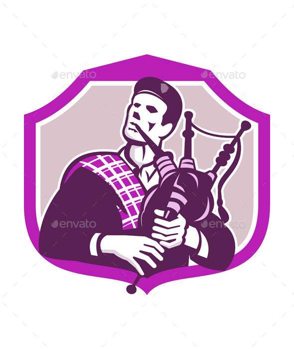 Scotsman Playing Bagpipes Shield - People Characters