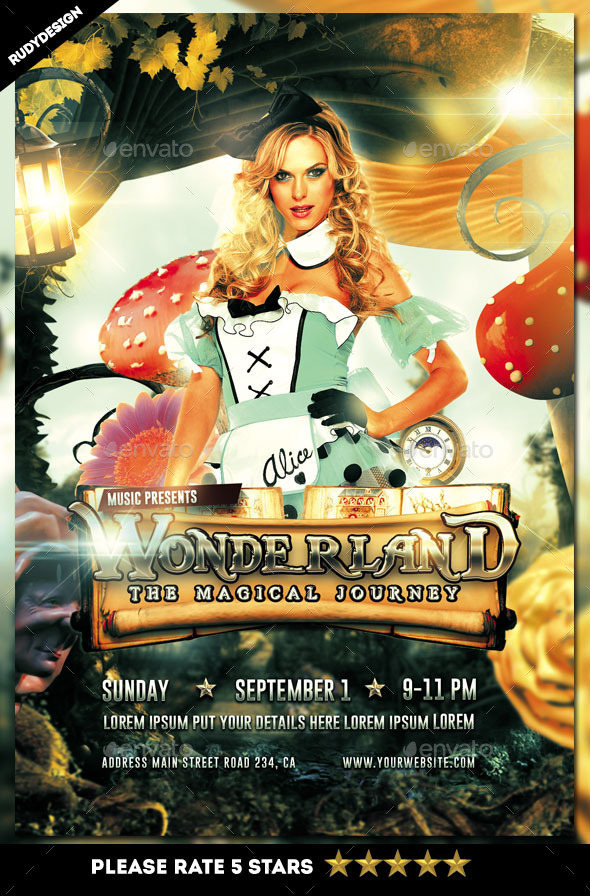 Wonderland Magical Journey Flyer - Clubs & Parties Events