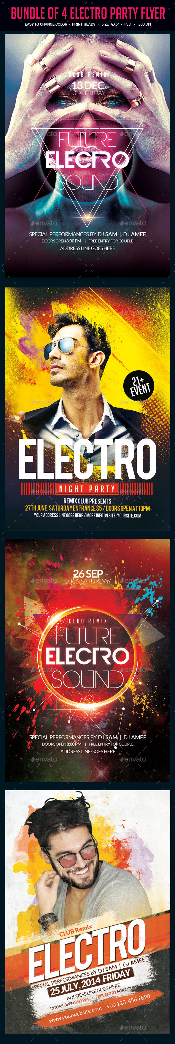 Bundle of 4 Electro Party Flyer - Clubs & Parties Events
