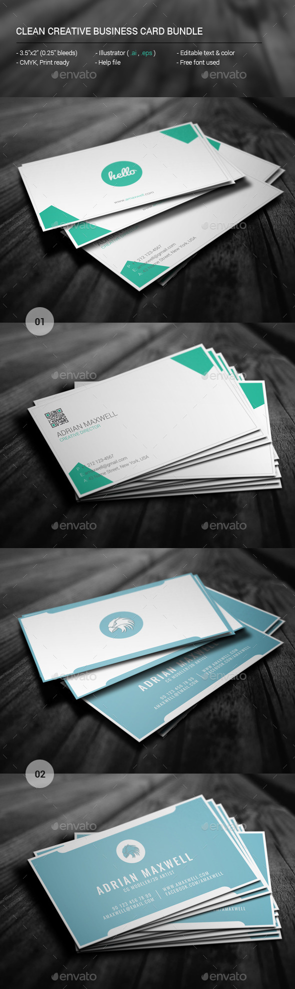 Clean Creative Business Card Bundle - Creative Business Cards