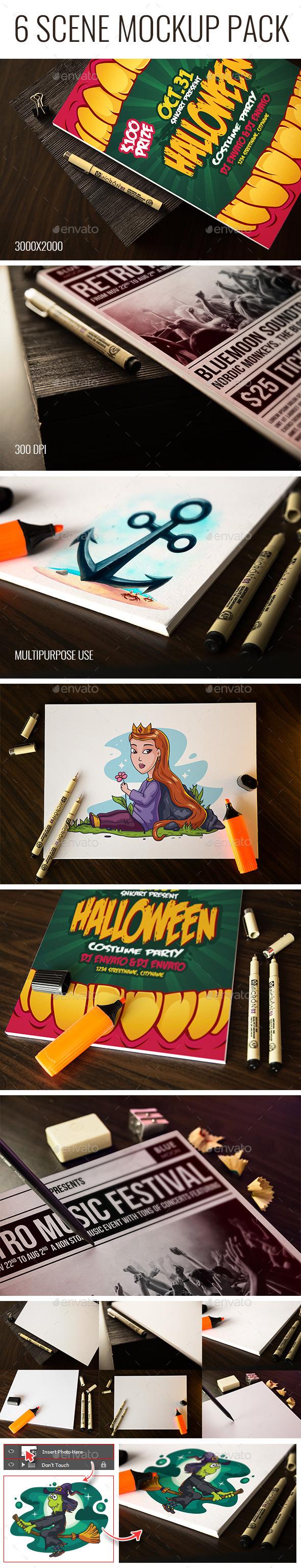 6 Scene Sketch Mockup - Print Product Mock-Ups