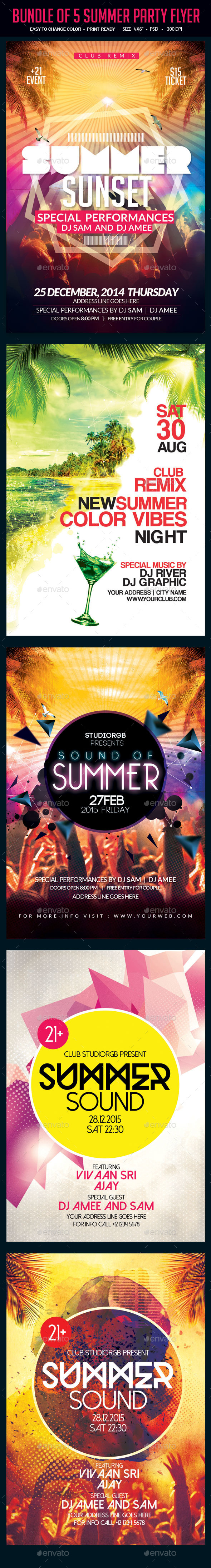 Bundle of 5 Summer Party Flyer - Clubs & Parties Events