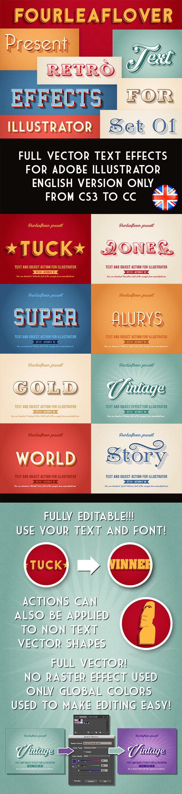 Illustrator Vintage Vector Text Effects Actions - Actions Illustrator