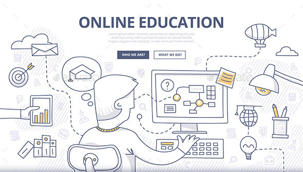 Online Education Doodle Concept - Conceptual Vectors