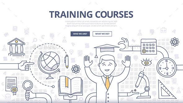 Training Courses and Education Doodle Concept - Conceptual Vectors