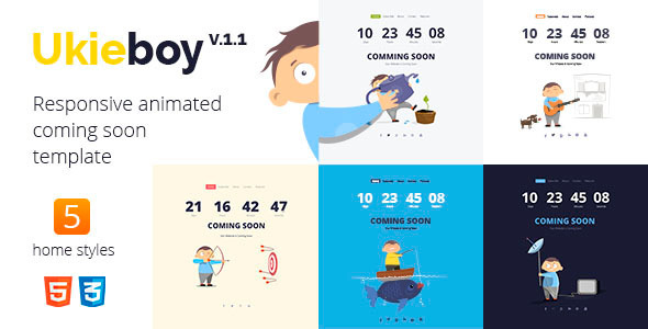 UkieBoy – Responsive Animated Coming Soon Template