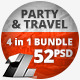 52 Party & Travel Web Banners - 4 in 1 Bundle - GraphicRiver Item for Sale