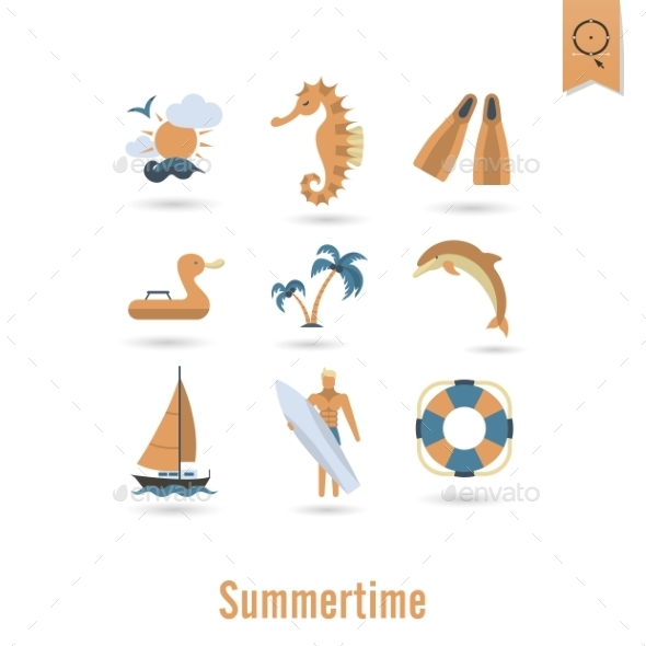 Summer and Beach Simple Flat Icons - Seasons Nature
