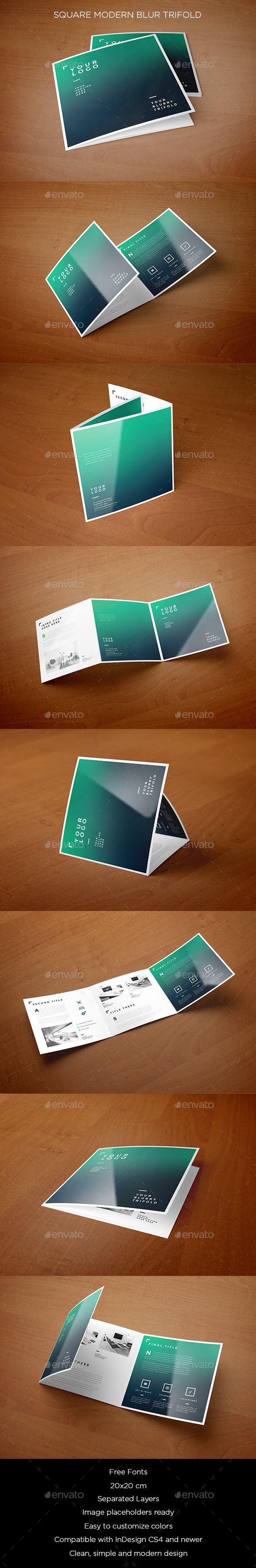 Square Modern Blur Trifold - Brochures Print Templates