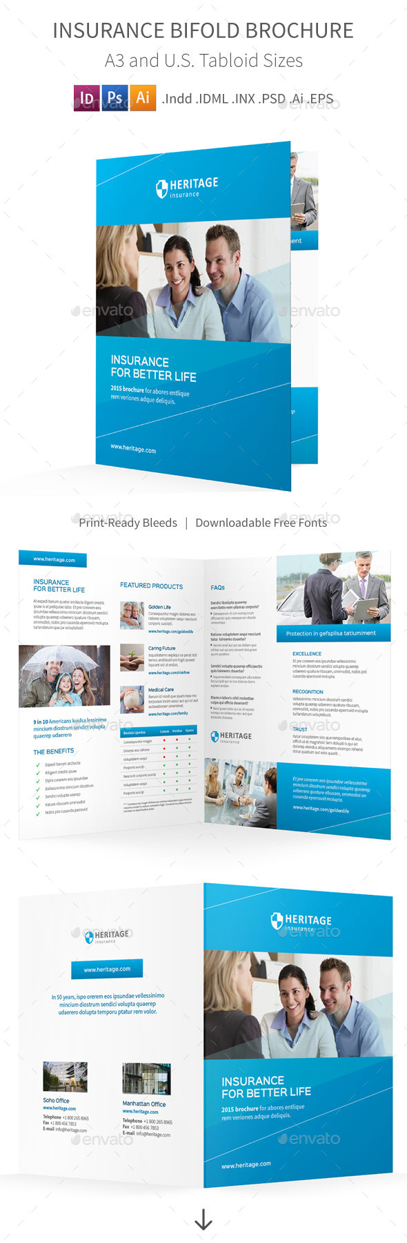 Insurance Company Bifold / Halffold Brochure - Corporate Brochures