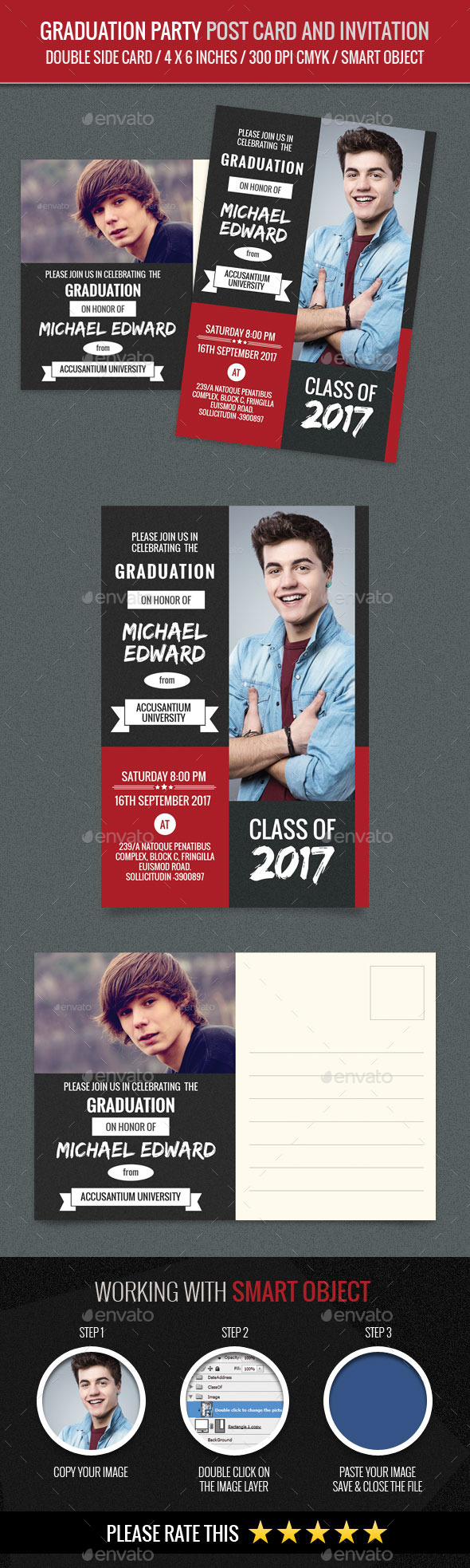 Graduation Party Post Card and Invitation Card Tem by abira ...