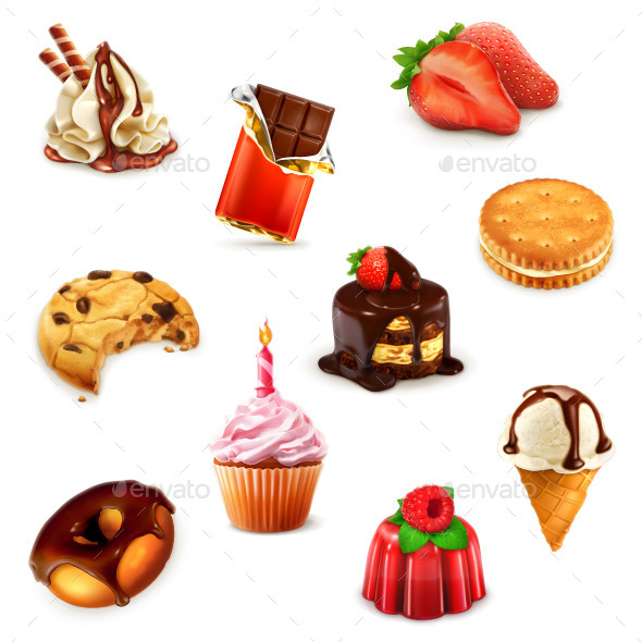 Confectionery Icons - Food Objects