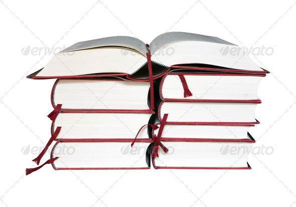 Open book on a stack of books - Stock Photo - Images