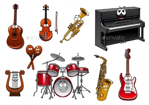 Musical Instruments Cartoon Characters - Miscellaneous Characters