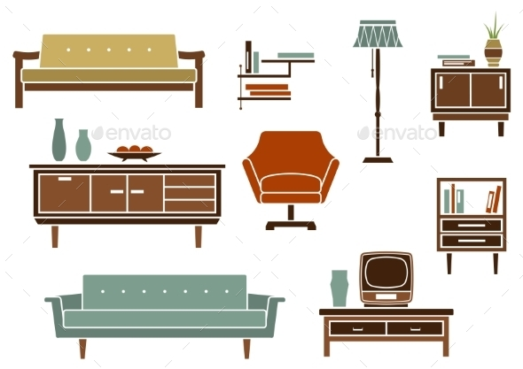 Flat Interior Furniture and Accessories - Man-made Objects Objects